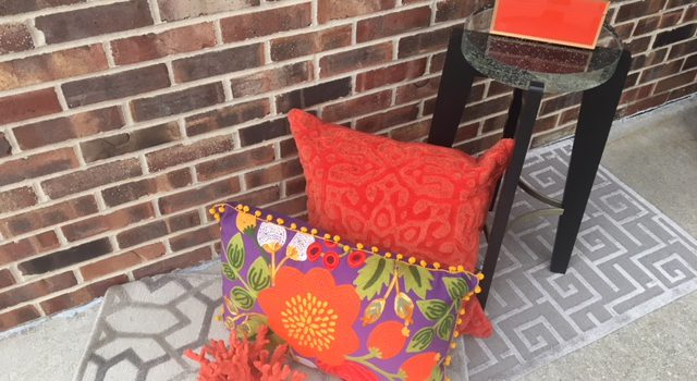 JWI Decor Orange Pillows and Table
